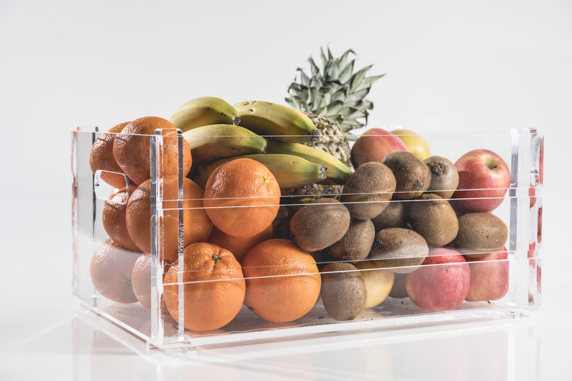 Cassetta portafrutta in plexiglas trasparente