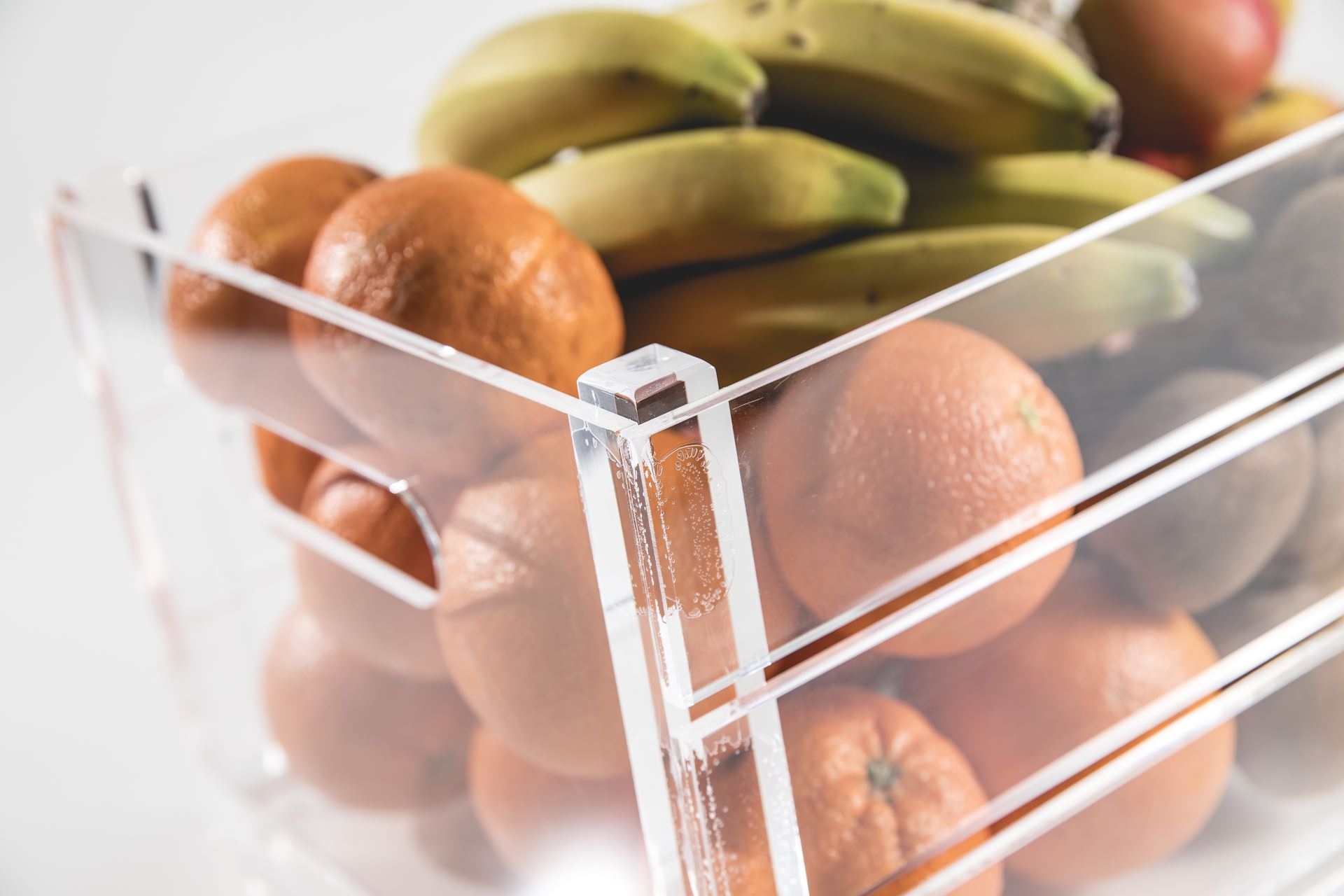 Cassetta portafrutta in plexiglass trasparente